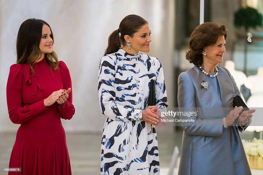 Princess Sofia, Crown Princess Victoria, and Queen Silvia of Sweden attend an exhibition of royal wedding dresses at the Royal Palace on October 17, 2016 in Stockholm, Sweden.