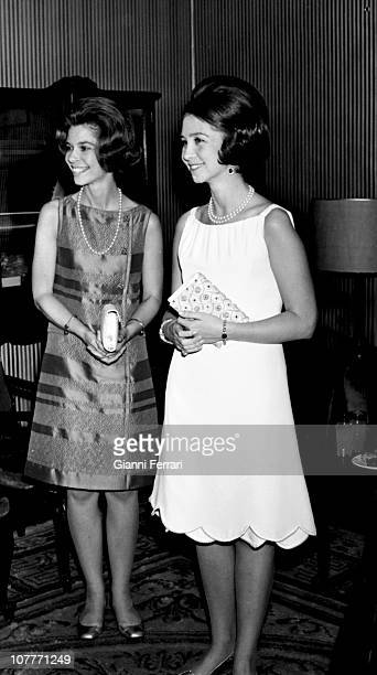 Princess Sofia of Greece and her sister Princess Irene in the Opera Theater Madrid Spain