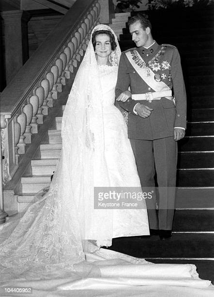 Princess SOFIA of Greece and JUAN CARLOS prince of the Asturia posing on the staircase of the Royal Palace Athens