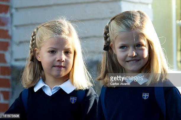 Princess Sofia of Spain and Princess Leonor of Spain arrive at 'Santa Maria de los Rosales' School on September 14 2012 in Aravaca near of Madrid...
