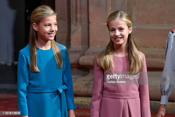Princess Sofia of Spain and Princess Leonor of Spain attend several audiences to congratulate the winners at the Reconquista Hotel during the...