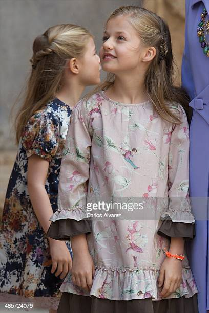 Princess Sofia of Spain and Princess Leonor of Spain attend the Easter Mass at the Cathedral of Palma de Mallorca on April 20 2014 in Palma de...