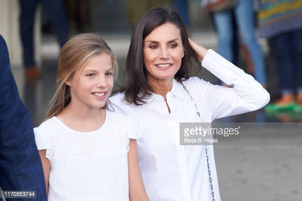 Princess Sofia of Spain and Queen Letizia of Spain are seen leaving Quiron Hospital after visit King Juan Carlos on August 27 2019 in Pozuelo de...