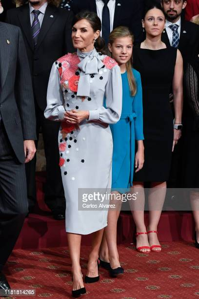 Princess Sofia of Spain and Queen Letizia of Spain attend several audiences to congratulate the winners at the Reconquista Hotel during the 'Princesa...