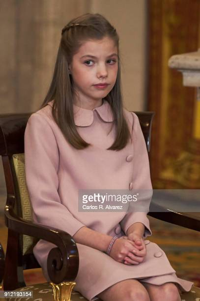 Princess Sofia of Spain attends the Order of Golden Fleece ceremony at the Royal Palace on January 30 2018 in Madrid Spain Today is King's Felipe...