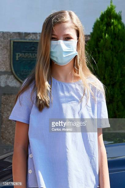 Princess Sofia of Spain is seen leaving from the Parador of Merida on July 23 2020 in Merida Spain This trip is part of a royal tour that will take...