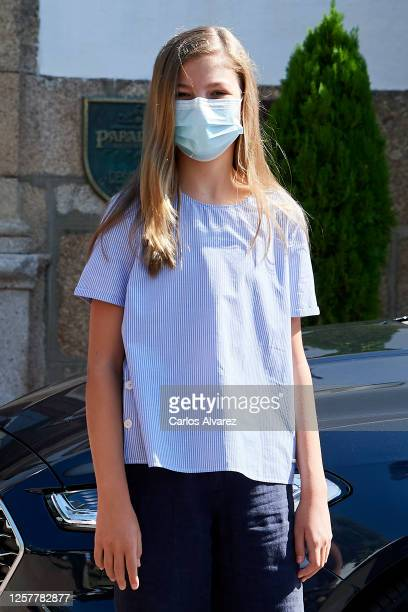 Princess Sofia of Spain is seen leaving from the Parador of Merida on July 23, 2020 in Merida, Spain. This trip is part of a royal tour that will...