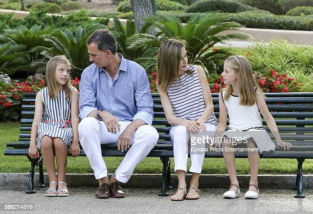 Princess Sofia of Spain, King Felipe VI of Spain, Queen Letizia of Spain and Princess Leonor of Spain pose for the photographers at the Marivent...