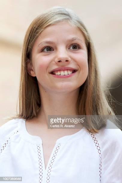 Princess Sofia of Spain poses for the photographers during the summer session at the Almudaina Palace on July 29 2018 in Palma de Mallorca Spain