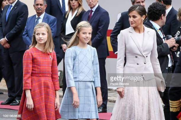 Princess Sofia of Spain, Princess Leonor of Spain and Queen Letizia of Spain attend the National Day Military Parade on October 12, 2018 in Madrid,...