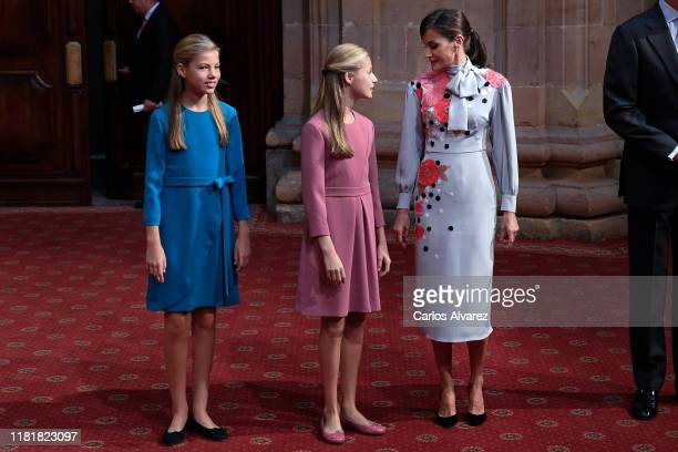 Princess Sofia of Spain Princess Leonor of Spain and Queen Letizia of Spain attend several audiences to congratulate the winners at the Reconquista...