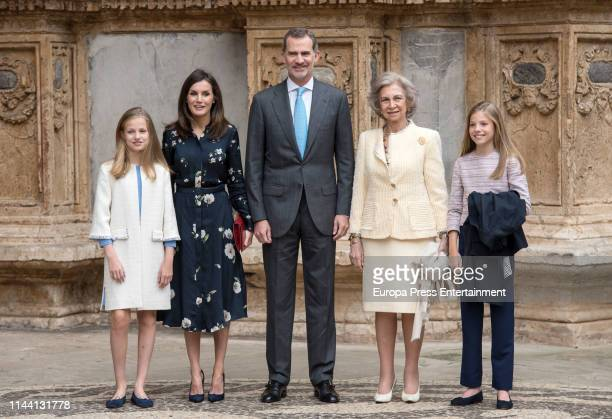 Princess Sofia of Spain, Princess Leonor of Spain, King Letizia of Spain and King Felipe VI of Spain attend the Easter mass on April 21, 2019 in...