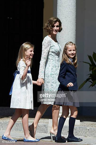Princess Sofia of Spain Queen Letizia of Spain and Princess Leonor of Spain arrive at the Asuncion de Nuestra Senora Church for the First Communion...