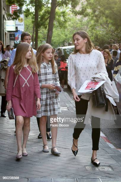 Princess Sofia of Spain Queen Letizia of Spain and Princess Leonor of Spain are seen after going to see the 'Billy Elliot' theatre play on May 19...