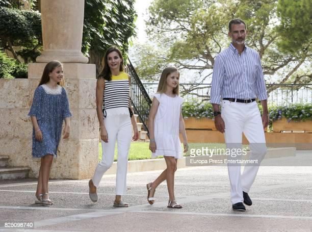 Princess Sofia of Spain Queen Letizia of Spain Princess Leonor of Spain and King Felipe VI of Spain pose for the photographers during the summer...