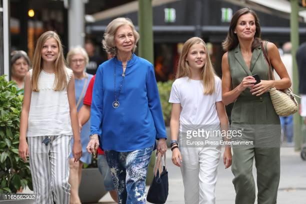 Princess Sofia of Spain Queen Sofia of Spain Princess Leonor of Spain and Queen Letizia of Spain are seen on August 01 2019 in Palma de Mallorca Spain
