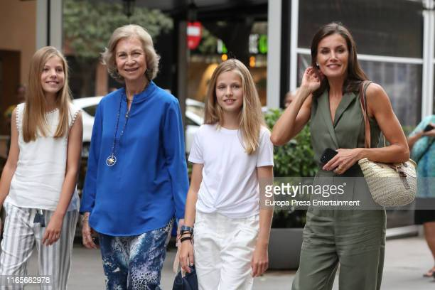 Princess Sofia of Spain Queen Sofia of Spain Princess Leonor of Spain and Queen Letizia of Spain are seen on August 01 2019 in Palma de Mallorca Spain