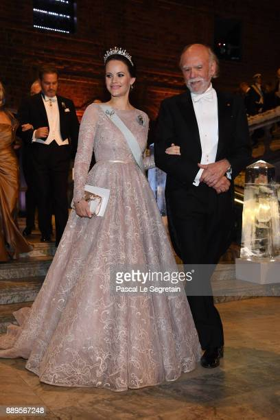 Princess Sofia of Sweden and Barry CBarish laureate of the Nobel Prize in physics attend the Nobel Prize Banquet 2017 at City Hall on December 10...