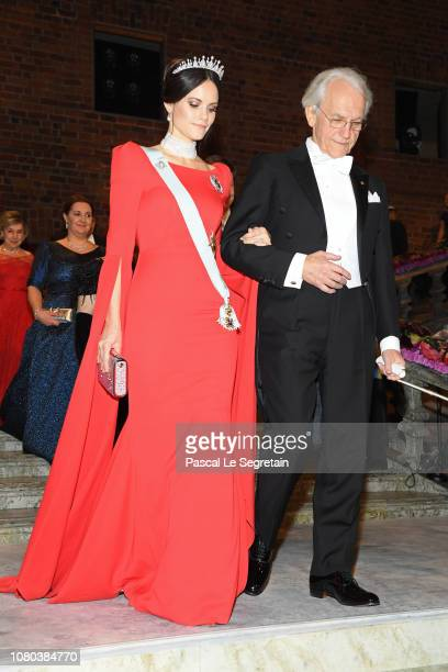 Princess Sofia of Sweden and Gerard Mourou laureate of the Nobel Prize in Physics attend the Nobel Prize Banquet 2018 at City Hall on December 10...