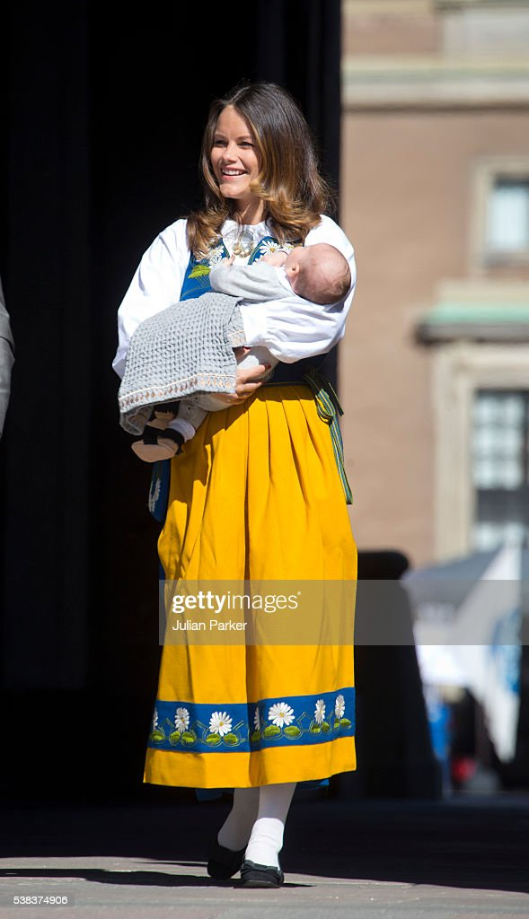 Princess Sofia of Sweden and her son Prince Alexander of Sweden attend the National Day Celebrations at The Royal Palace in Stockholm on June 6, 2016 in Stockholm, Sweden.