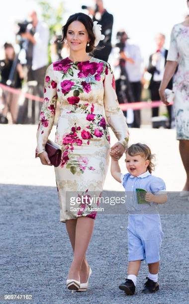 Princess Sofia of Sweden and Prince Alexander of Sweden attend the christening of Princess Adrienne of Sweden at Drottningholm Palace Chapel on June...