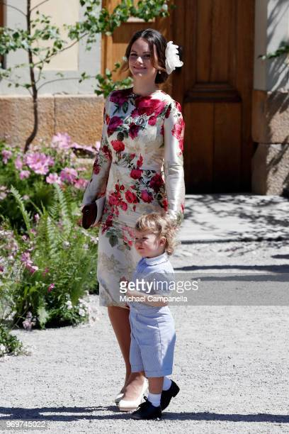 Princess Sofia of Sweden and Prince Alexander of Sweden pose after the christening of Princess Adrienne of Sweden at Drottningholm Palace Chapel on...
