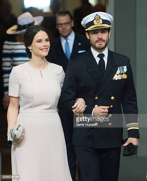 Princess Sofia of Sweden and Prince Carl Philip of Sweden arrive at the Royal Palace to attend Te Deum Thanksgiving Service to celebrate the 70th...