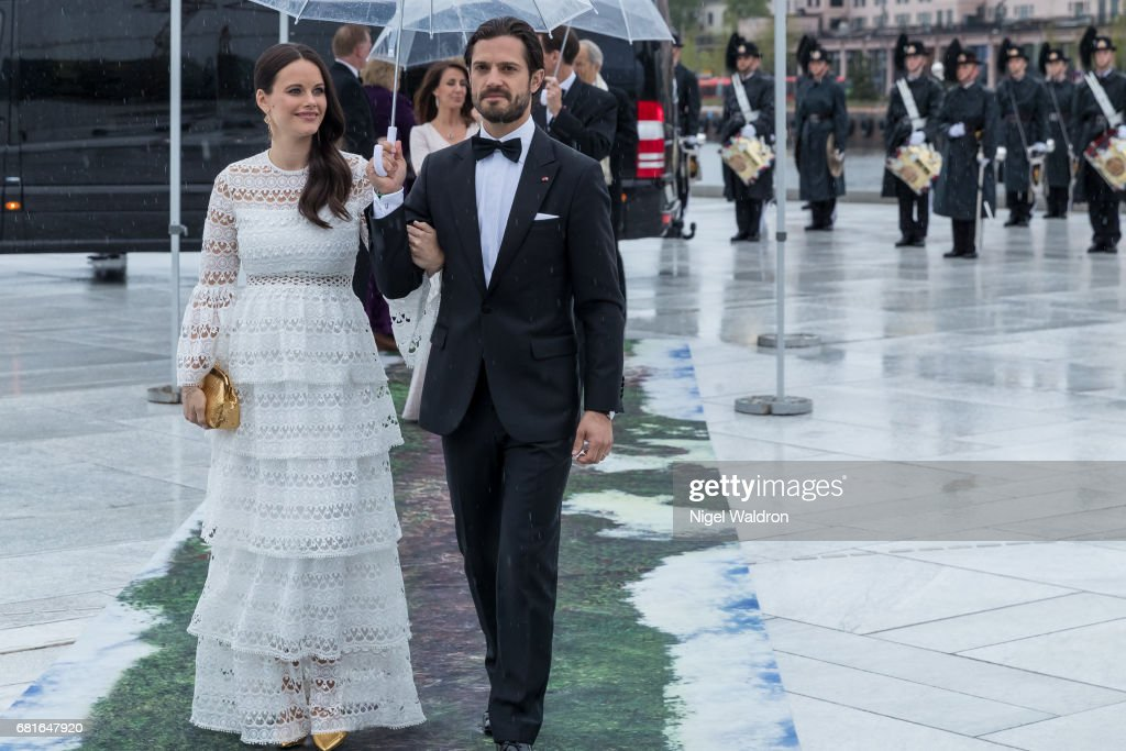 Princess Sofia of Sweden and Prince Carl Philip of Sweden arrives at the Opera House on the occasion of the celebration of King Harald and Queen Sonja of Norway 80th birthdays on May 10 2017 in Oslo, Norway.