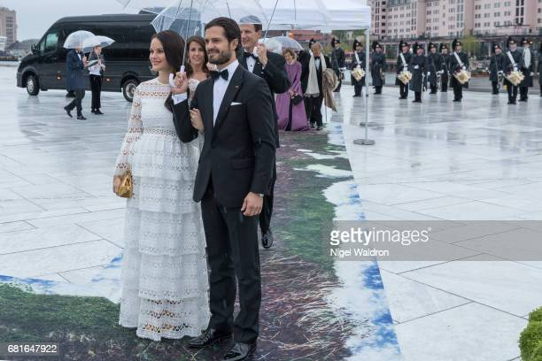 Princess Sofia of Sweden and Prince Carl Philip of Sweden arrives at the Opera House on the occasion of the celebration of King Harald and Queen...