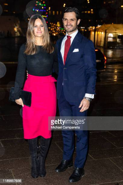 Princess Sofia of Sweden and Prince Carl Philip of Sweden attend the concert Christmas in Vasastan at Gustaf Vasa Church on December 21, 2019 in...