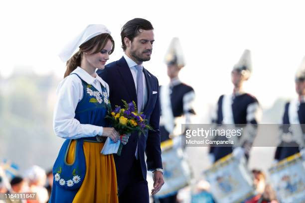 Princess Sofia of Sweden and Prince Carl Philip of Sweden leave a ceremony celebrating Sweden's national day at Skansen on June 06, 2019 in...