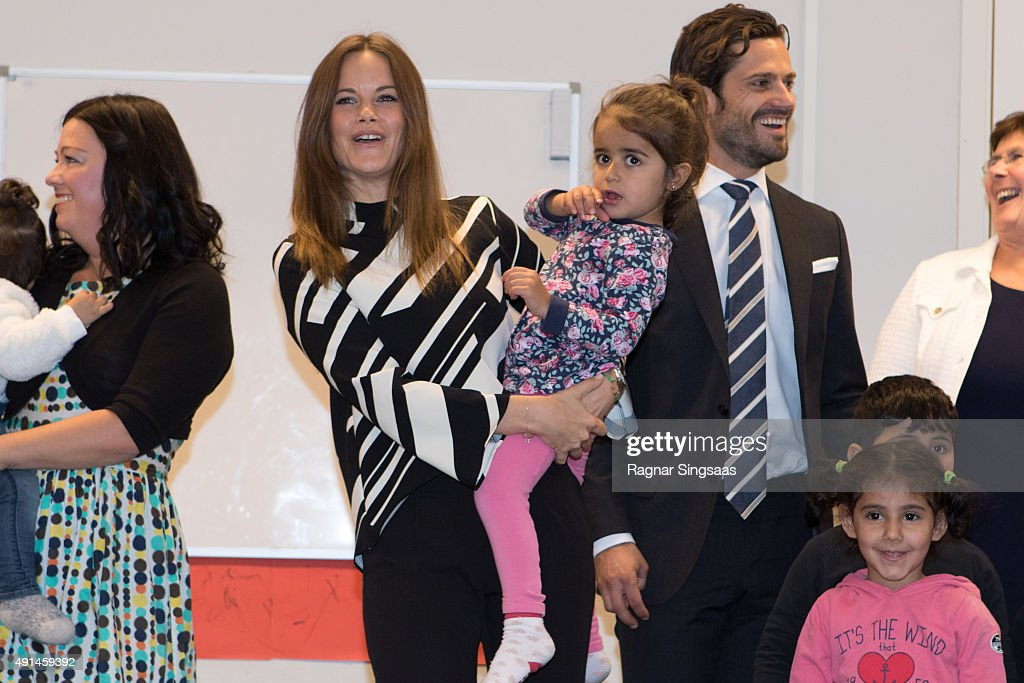 Princess Sofia of Sweden and Prince Carl Philip of Sweden visit a consultant unit for refugees during the first day of their trip to Dalarna on October 5, 2015 in Borlange, Sweden.