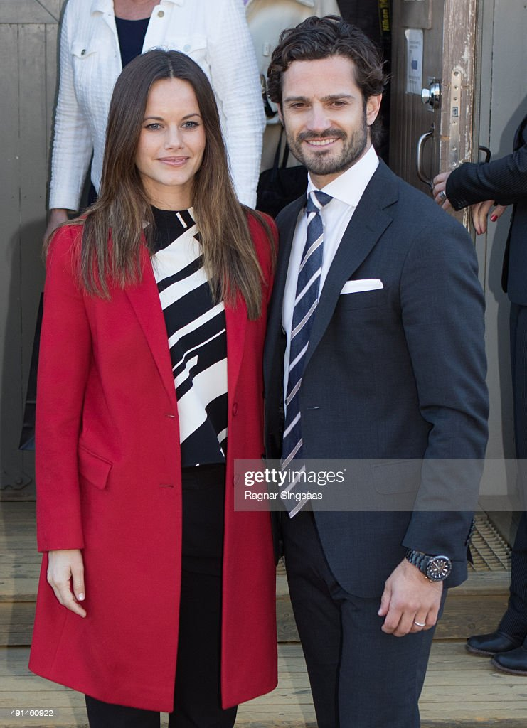 Princess Sofia of Sweden and Prince Carl Philip of Sweden visit the Falun Mine world heritage site during the first day of their trip to Dalarna on October 5, 2015 in Falun, Sweden.