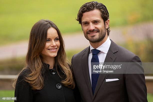 Princess Sofia of Sweden and Prince Carl Philip of Sweden visit the old stone porphyry during the second day of their trip to Dalarna on October 6...