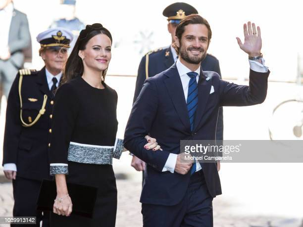 Princess Sofia of Sweden and Prince Carl Phillip of Sweden attend a church service at the Stockholm Cathedral in connection with the opening of the...