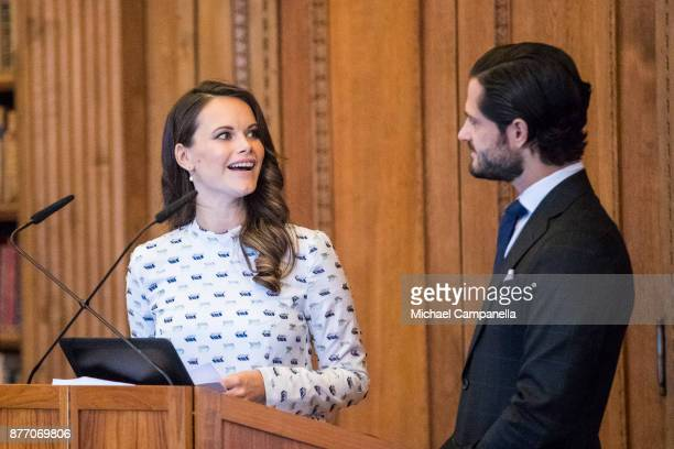 Princess Sofia of Sweden and Prince Carl Phillip of Sweden attend a symposium on 'Dyslexialand' at the Royal Palace on November 21 2017 in Stockholm...