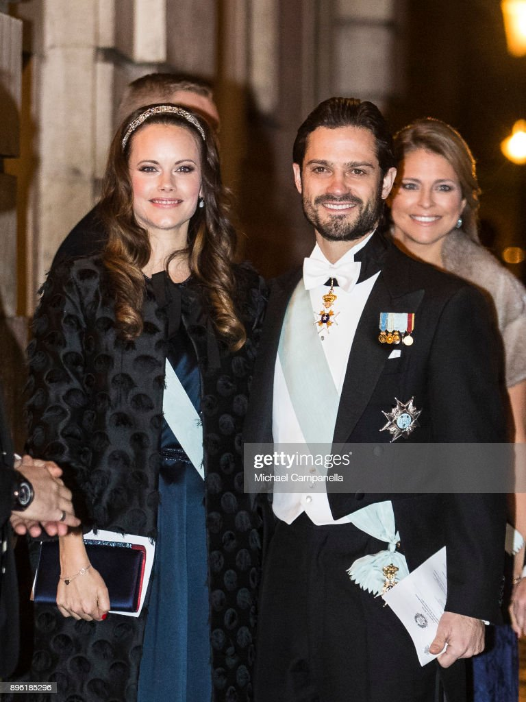 Princess Sofia of Sweden and Prince Carl Phillip of Sweden attend a formal gathering at the Swedish Academy on December 20, 2017 in Stockholm, Sweden.