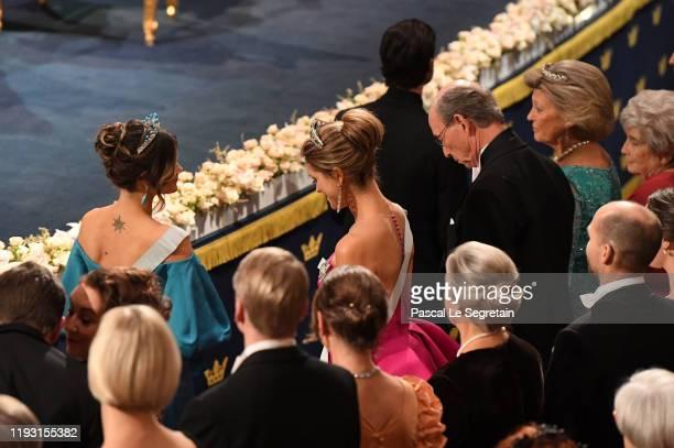 Princess Sofia of Sweden and Princess Madeleine of Sweden attend the Nobel Prize Awards Ceremony at Concert Hall on December 10 2019 in Stockholm...