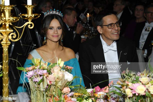 Princess Sofia of Sweden and Professor Didier Queloz laureate of the Nobel Prize in Physics attend the Nobel Prize Banquet 2018 at City Hall on...