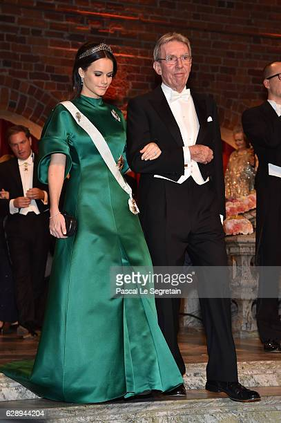 Princess Sofia of Sweden and Professor JeanPierre Sauvage laureate of the Nobel Prize in Chemistry arrive at the Nobel Prize Banquet 2015 at City...