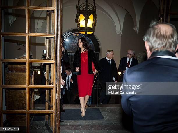 Princess Sofia of Sweden arrives at formal gathering at the Royal Swedish Academy of Fine Arts on February 19, 2016 in Stockholm, Sweden.