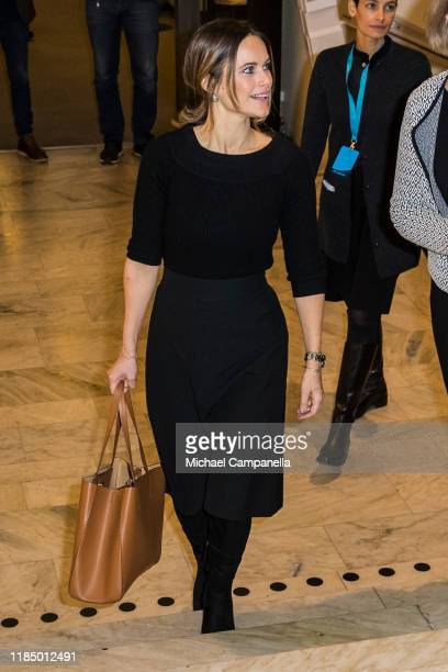 Princess Sofia of Sweden arrives at the Stockholm City Conference Center to attend the National Conference of Youth and Civil Society Issues on...