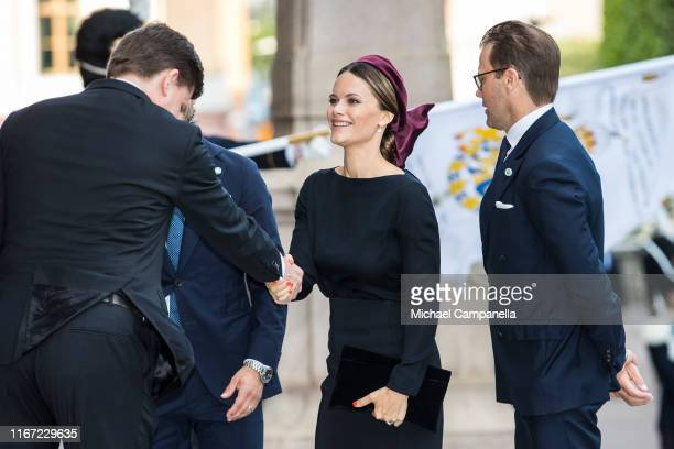 Princess Sofia of Sweden arrives at the Swedish Parliament House for the opening of the new parliamentary session on September 10, 2019 in Stockholm,...