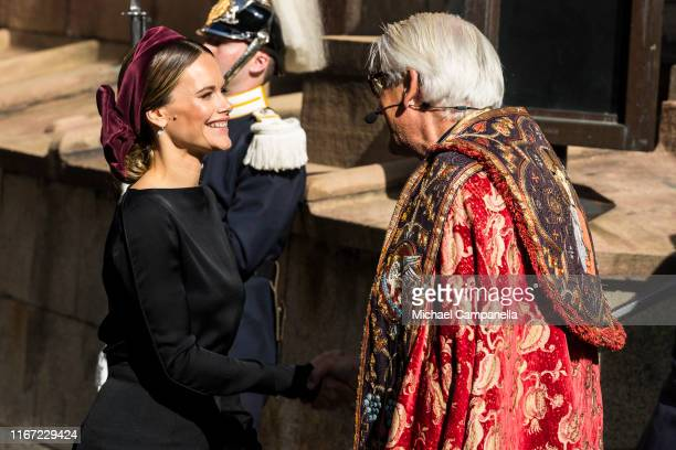 Princess Sofia of Sweden attends a church ceremony in connection with the opening of the Parliamentary session at the Stockholm Cathedral on...
