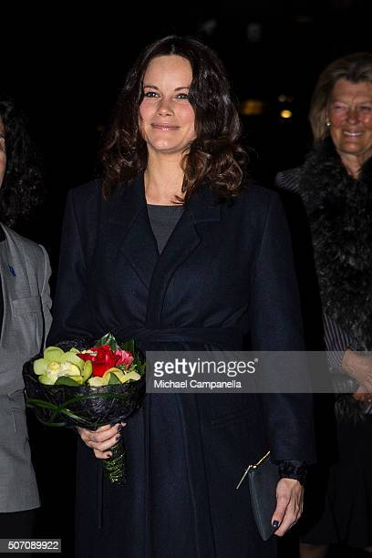 Princess Sofia of Sweden attends a memorial ceremony in connection with the Holocaust Memorial Day at the Stockholm Synagogue on January 27 2016 in...