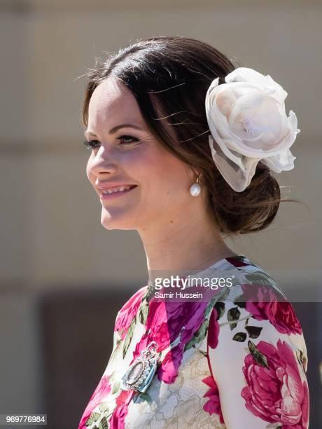 Princess Sofia of Sweden attends the christening of Princess Adrienne of Sweden at Drottningholm Palace Chapel on June 8 2018 in Stockholm Sweden