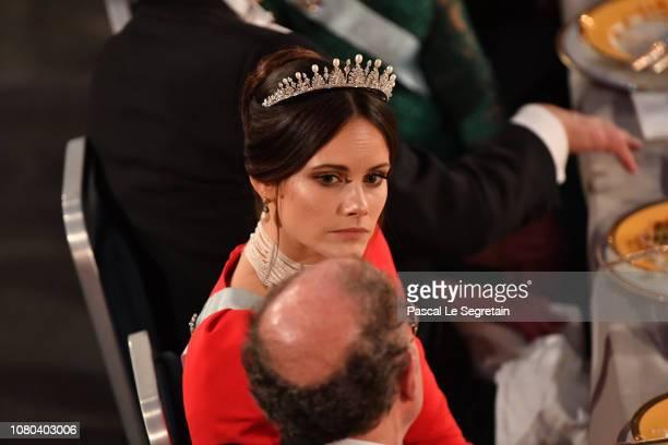Princess SOfia of Sweden attends the Nobel Prize Banquet 2018 at City Hall on December 10 2018 in Stockholm Sweden