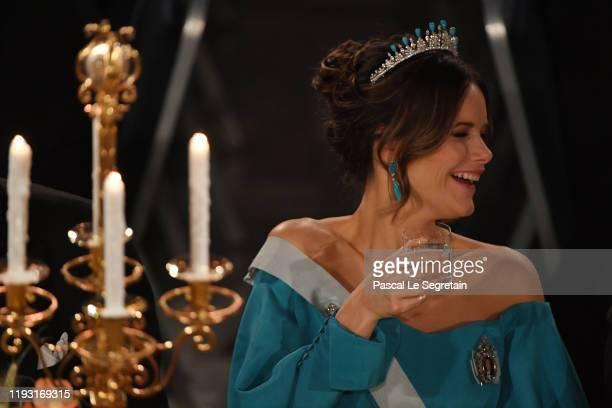 Princess Sofia of Sweden attends the Nobel Prize Banquet 2018 at City Hall on December 10 2019 in Stockholm Sweden