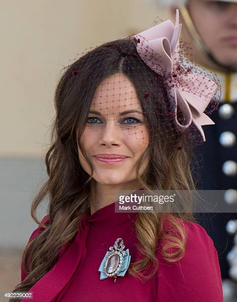 Princess Sofia of Sweden is seen at Drottningholm Palace for the Christening of Prince Nicolas of Sweden at Drottningholm Palace on October 11 2015...