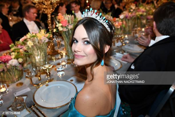 Princess Sofia of Sweden poses before a royal banquet to honour the laureates of the Nobel Prize 2019 following the Award ceremony on December 10...